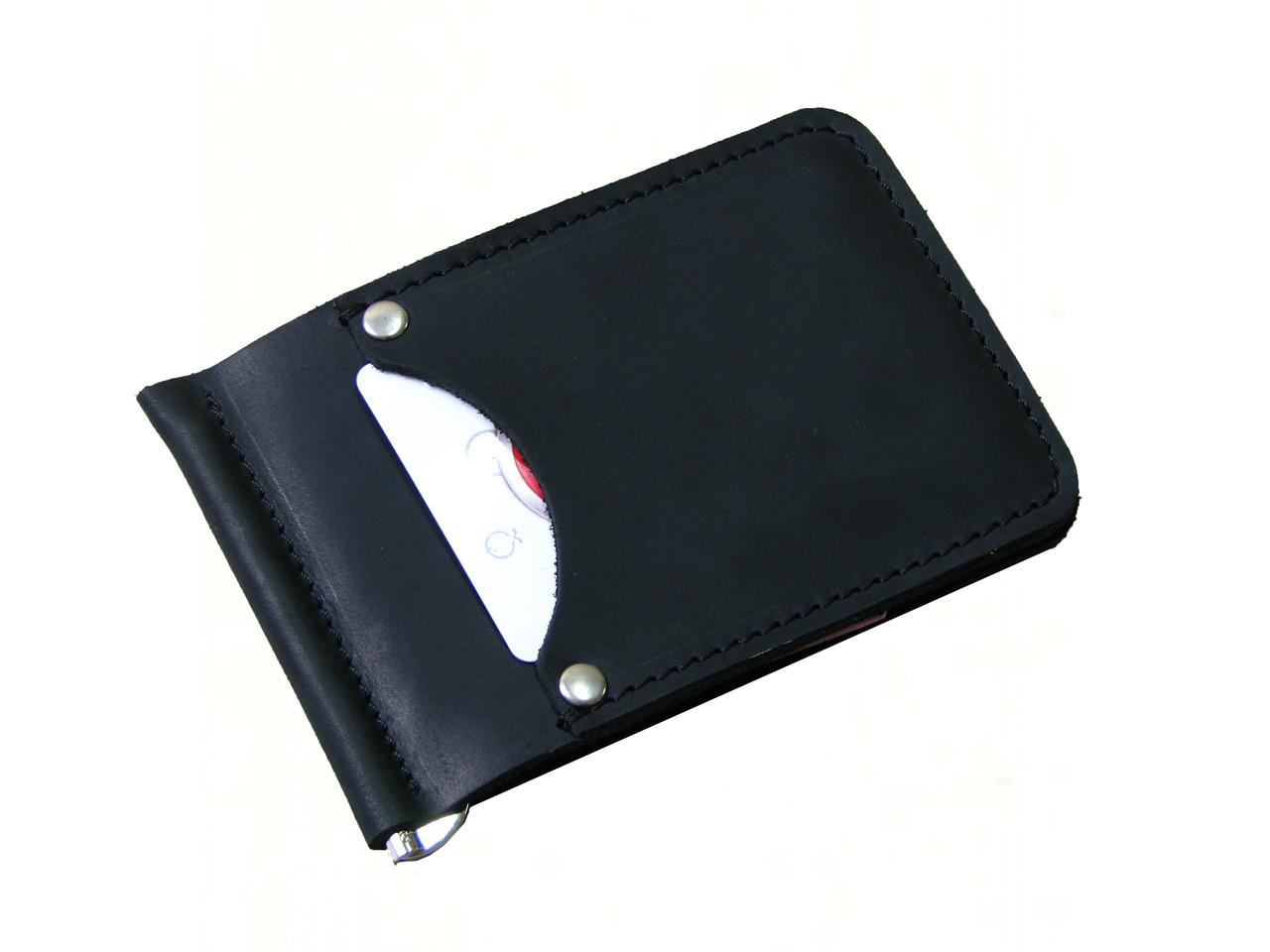 Мужской кошелек с зажимом для купюр GS кожаный черный
