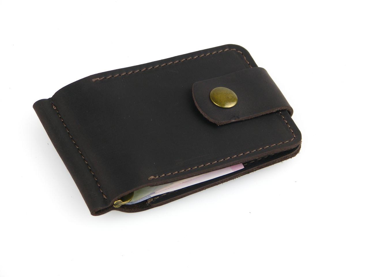 Зажим для денег кожаный GS коричневый