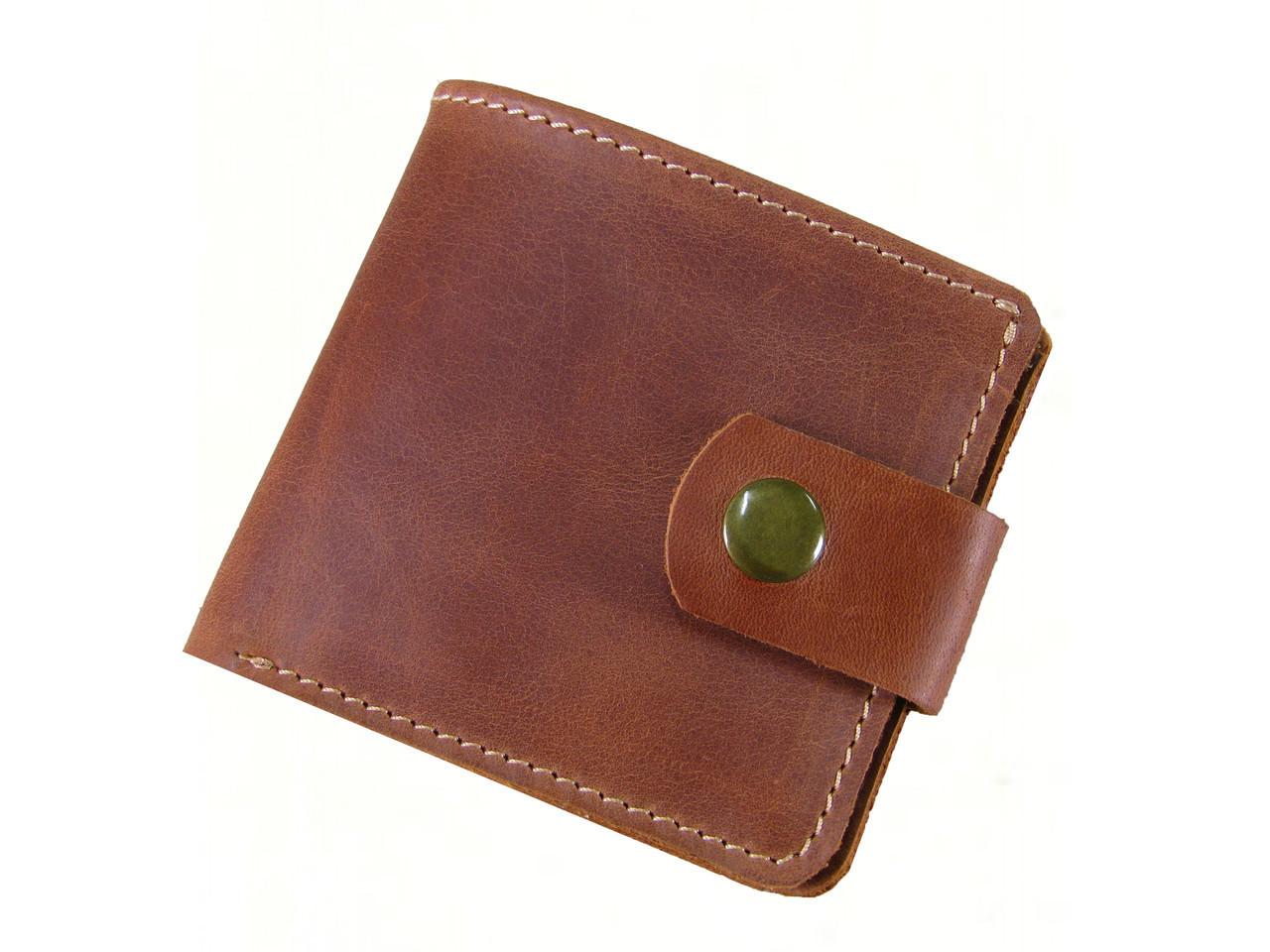 Мужской кошелек бумажник GS кожаный коньячный