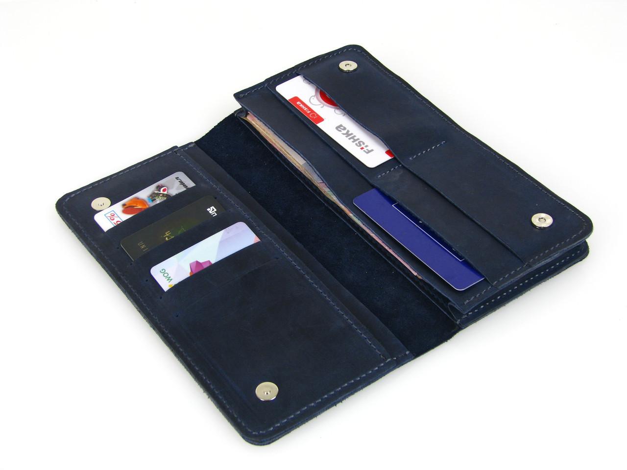 Женский кожаный кошелек - клатч GS синий