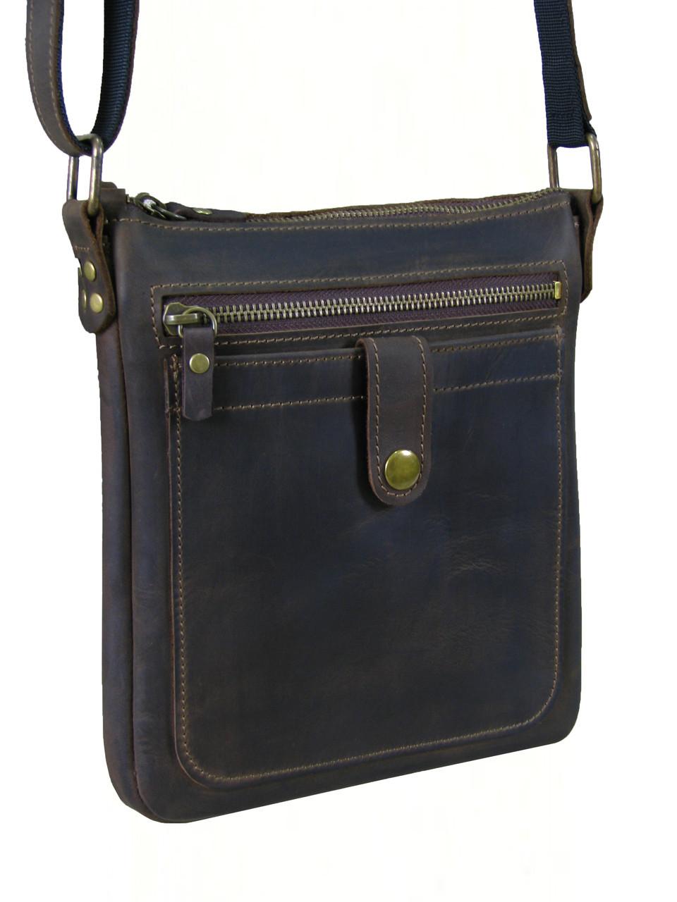 Кожаная сумка планшет GS мужская коричневая