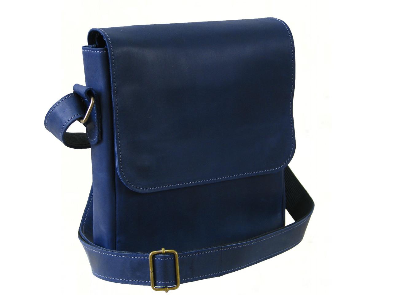 Мужская сумка из винтажной кожи GS синяя