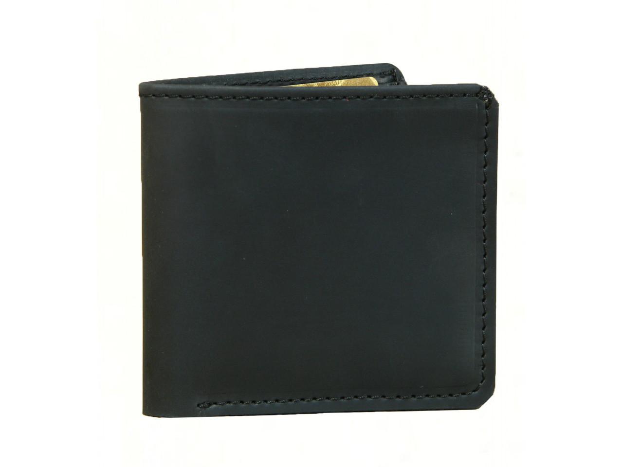 Кожаный тонкий кошелек GS мужской черный
