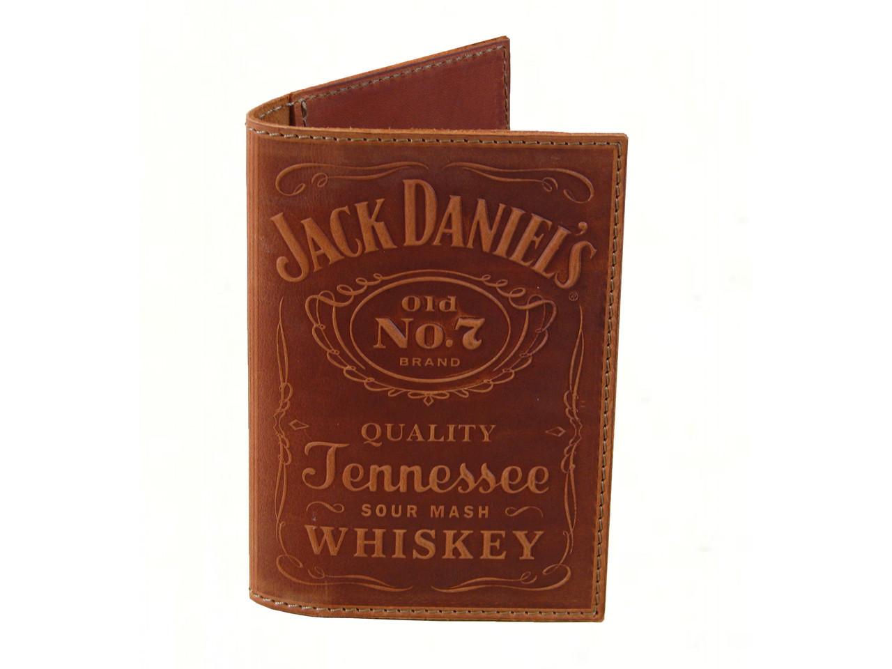 """Кожаная обложка для паспорта GS с тиснением """"Jack Daniels"""" рыжая"""