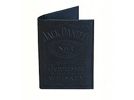 """Шкіряна обкладинка для паспорта GS з тисненням """"Jack Daniels"""" чорна"""