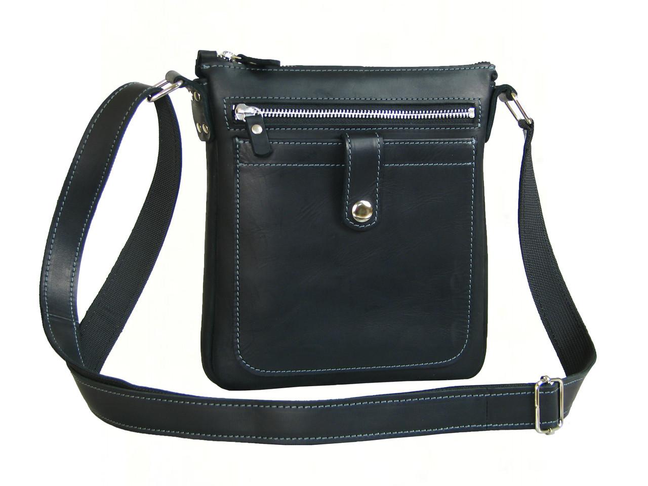 Кожаная сумка планшет GS мужская черная с серой строчкой