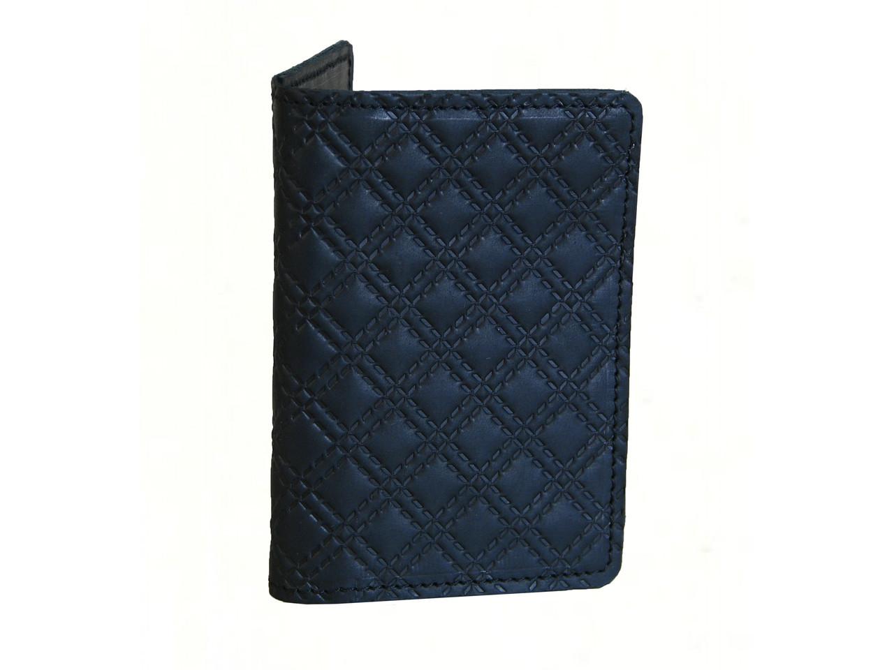 Обложка для паспорта с тиснением GS кожаная черная