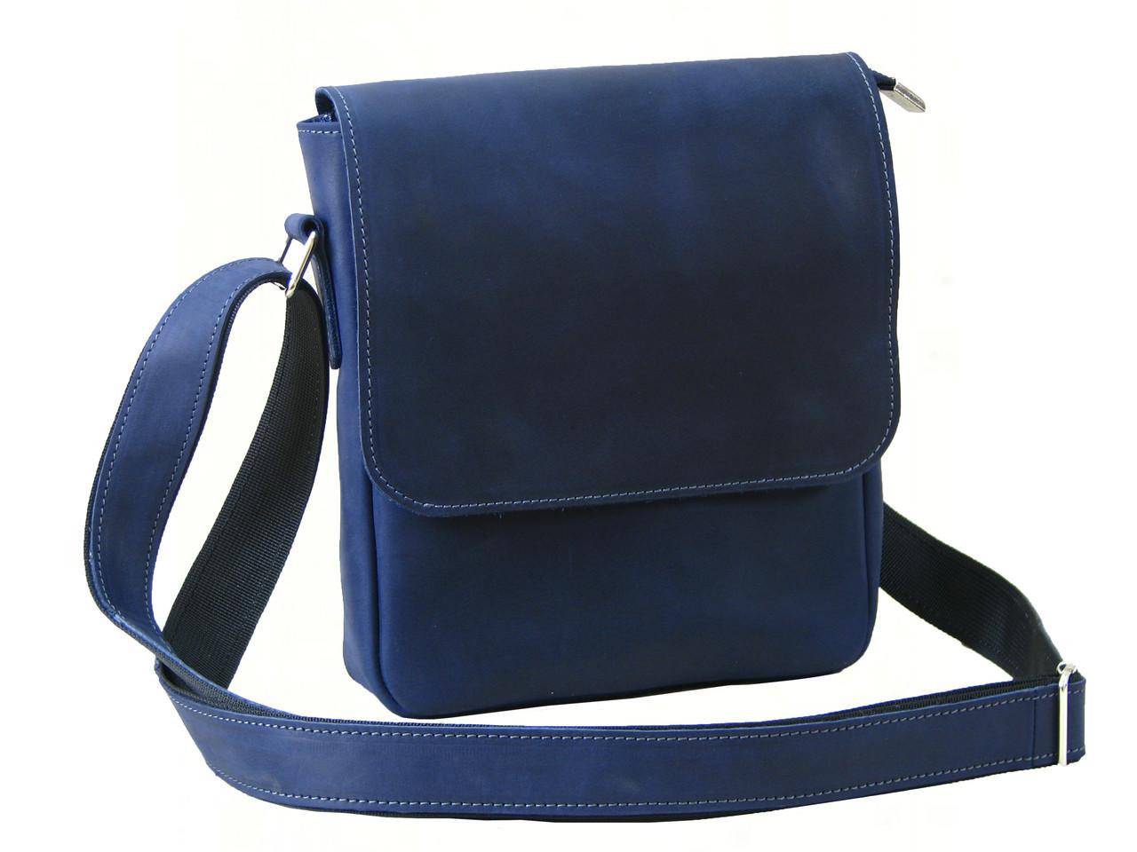 Мужская кожаная сумка через плечо GS синяя