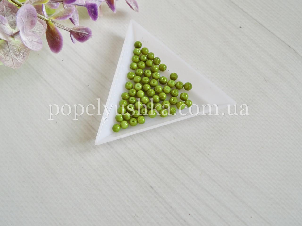 Намистини 4 мм оливкові (20 шт.)