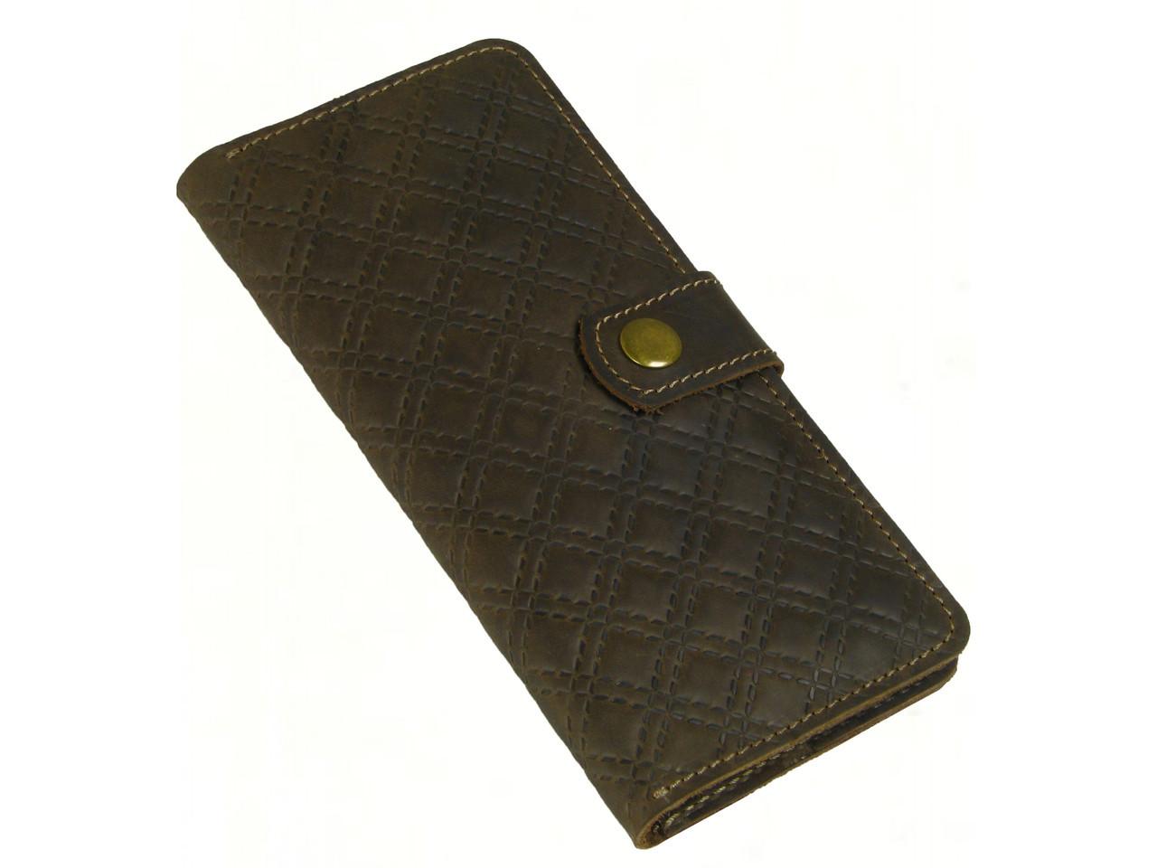 Кожаный женский кошелек с тиснением коричневый