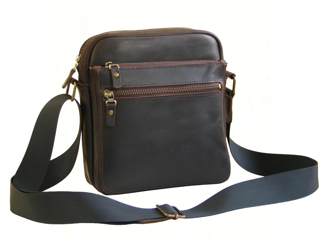 Кожаная сумка мужская GS коричневая