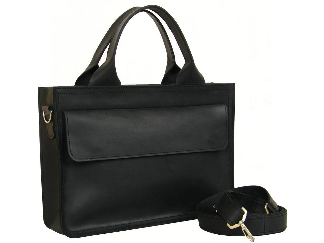 Кожаная мужская сумка для документов и небольшого ноутбука GS черная