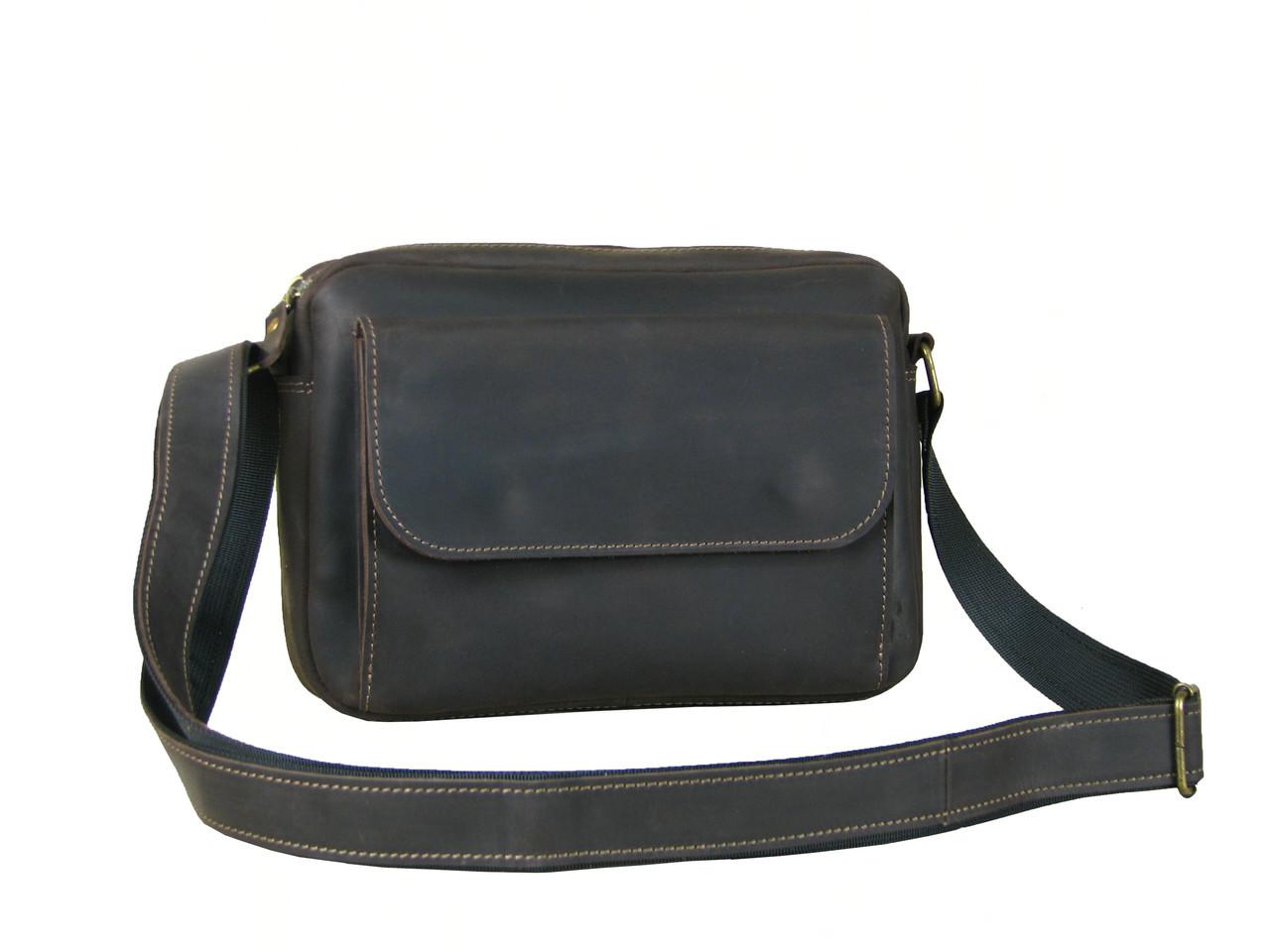 Мужская сумка кросс боди GS кожаная коричнева