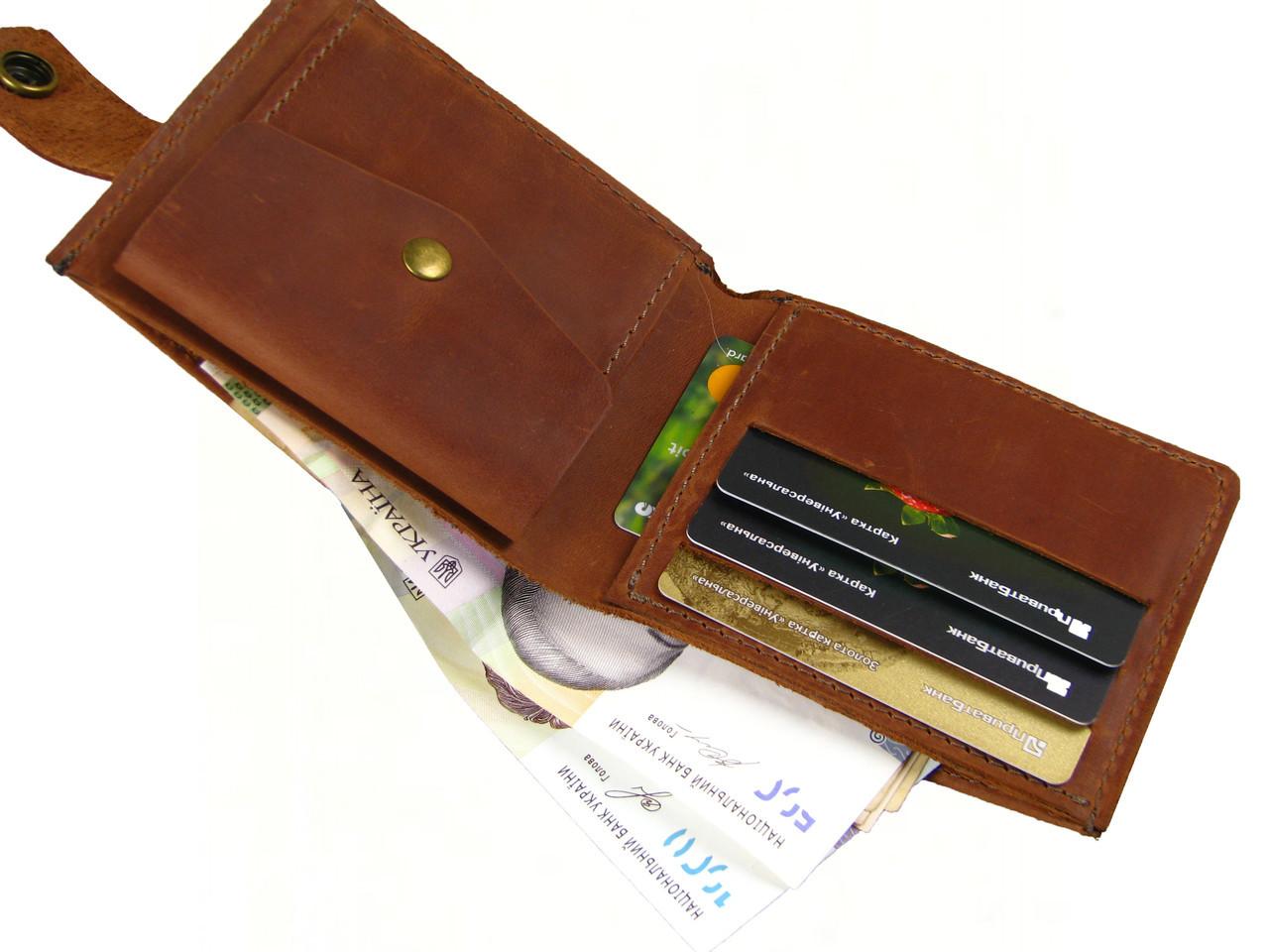 Мужской кожаный кошелек портмоне GS коньячный