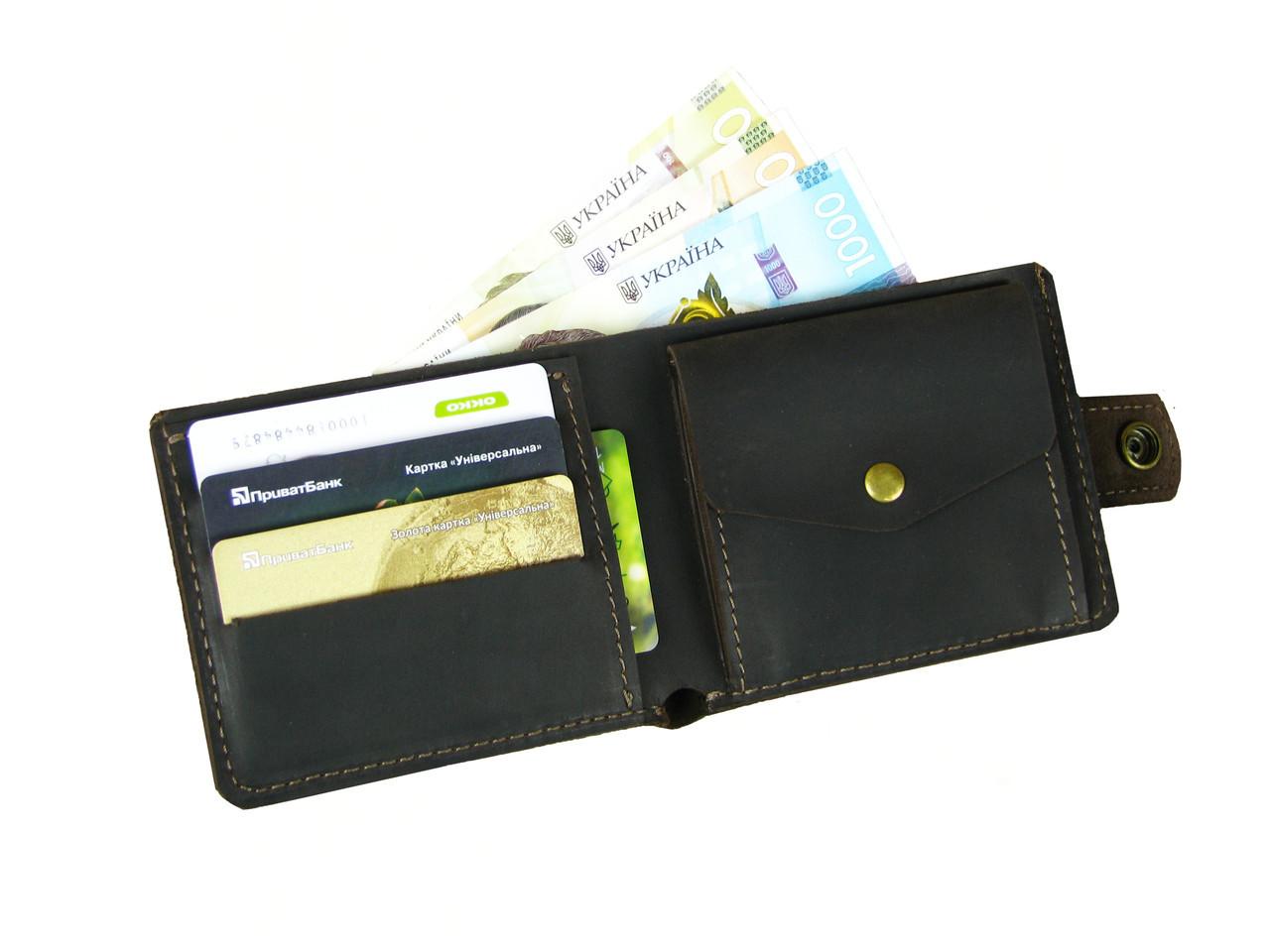 Мужской кожаный кошелек портмоне GS коричневый