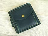 Женский кожаный кошелек бумажник GS зеленый, фото 4