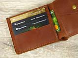 Кожаное женское портмоне GS коньячного цвета, фото 3