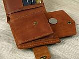 Кожаное женское портмоне GS коньячного цвета, фото 4