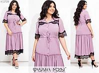 Платье прямого кроя со стояче-отложным воротником короткими рукава размеры: 50, 52, 54, 56, 58, 60, 62