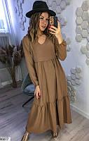 Платье женское длинное весна-лето повседневного стиля софт -жатка 42-48 р. Турция,цвет бежевый