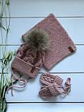 Вязаная шапка, снуд, варежки. Ручная вязка., фото 2