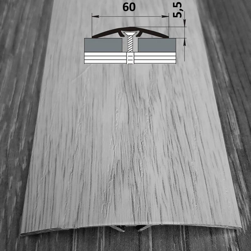 Полукруглый напольный порог со скрытым креплением шириной 60 мм