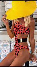 Купальник слитный на одно плечо красный леопардовый, фото 2