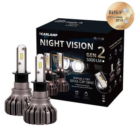 Светодиодные автолампы H3 Carlamp Night Vision Gen2 5000 Lm 5500 K IP68K (NVGH3), фото 2