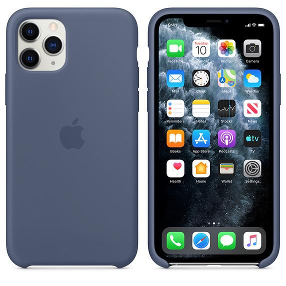 Силиконовый чехол для iPhone 11 Pro. Alaskan Blue. Швы стык в стык, оттенок логотипа и кнопок идентичен