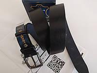 Кожаный мужской ремень,классический,черный 40 мм