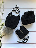 Вязаная шапка, хомут, варежки. Ручная вязка., фото 2