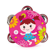 Детская игрушка погремушка Бубен (Розовый)