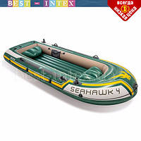Четырехместная надувная лодка Intex 68350 (351х145х48 см) Seahawk 4, фото 1