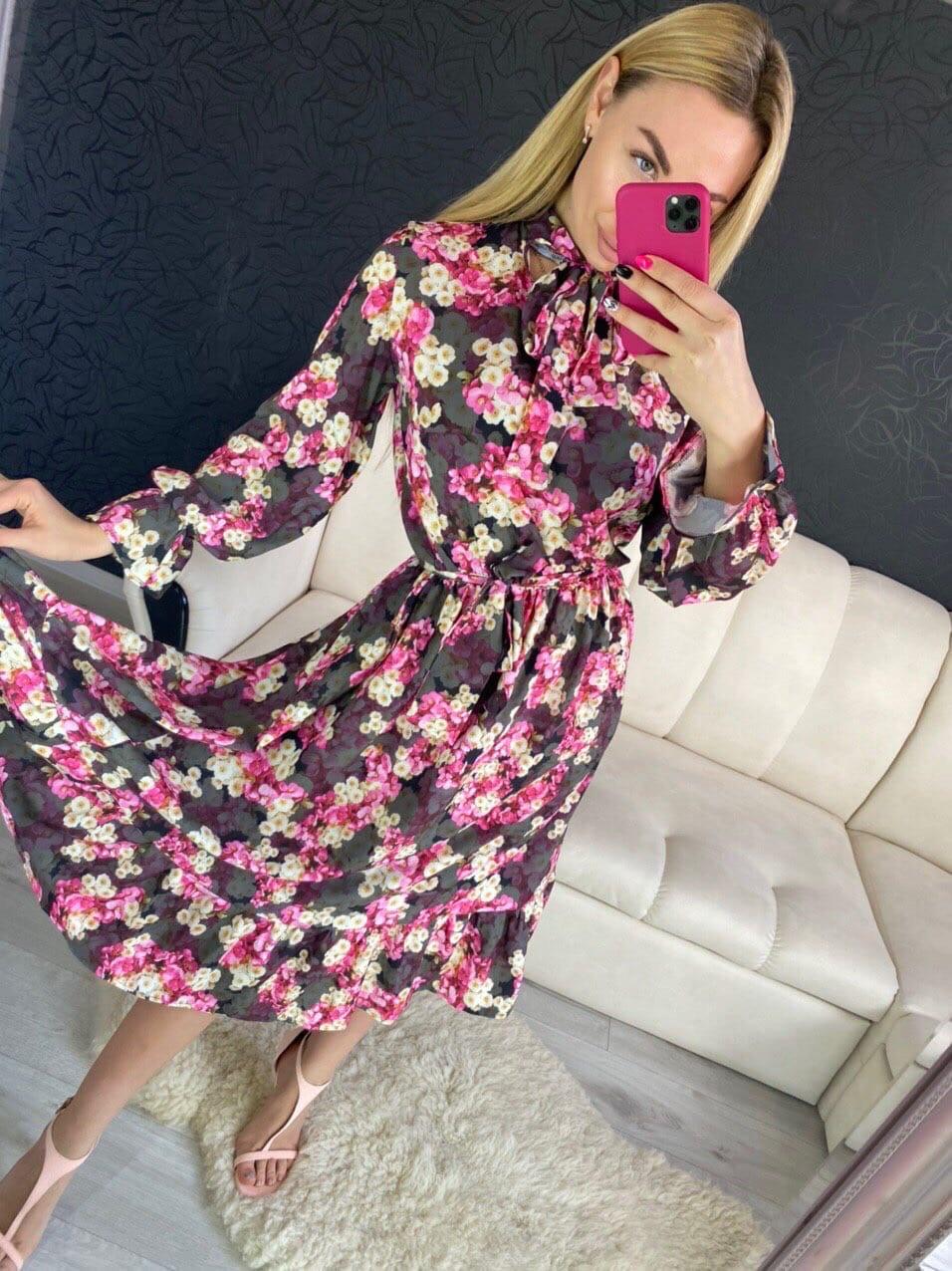 Цветочное платье миди с длинным рукавом и закрытым верхом 16031029
