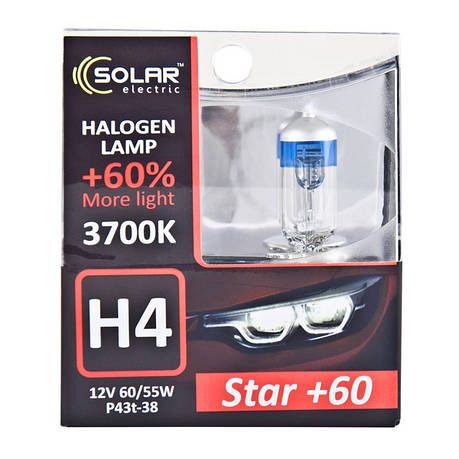 Галогеновая лампа Solar H4 12V 60/55W P43t-38 Starlight +60% (1234S2), фото 2