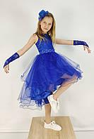 Нарядное платье с пышной асимметричной юбкой 4-10 лет