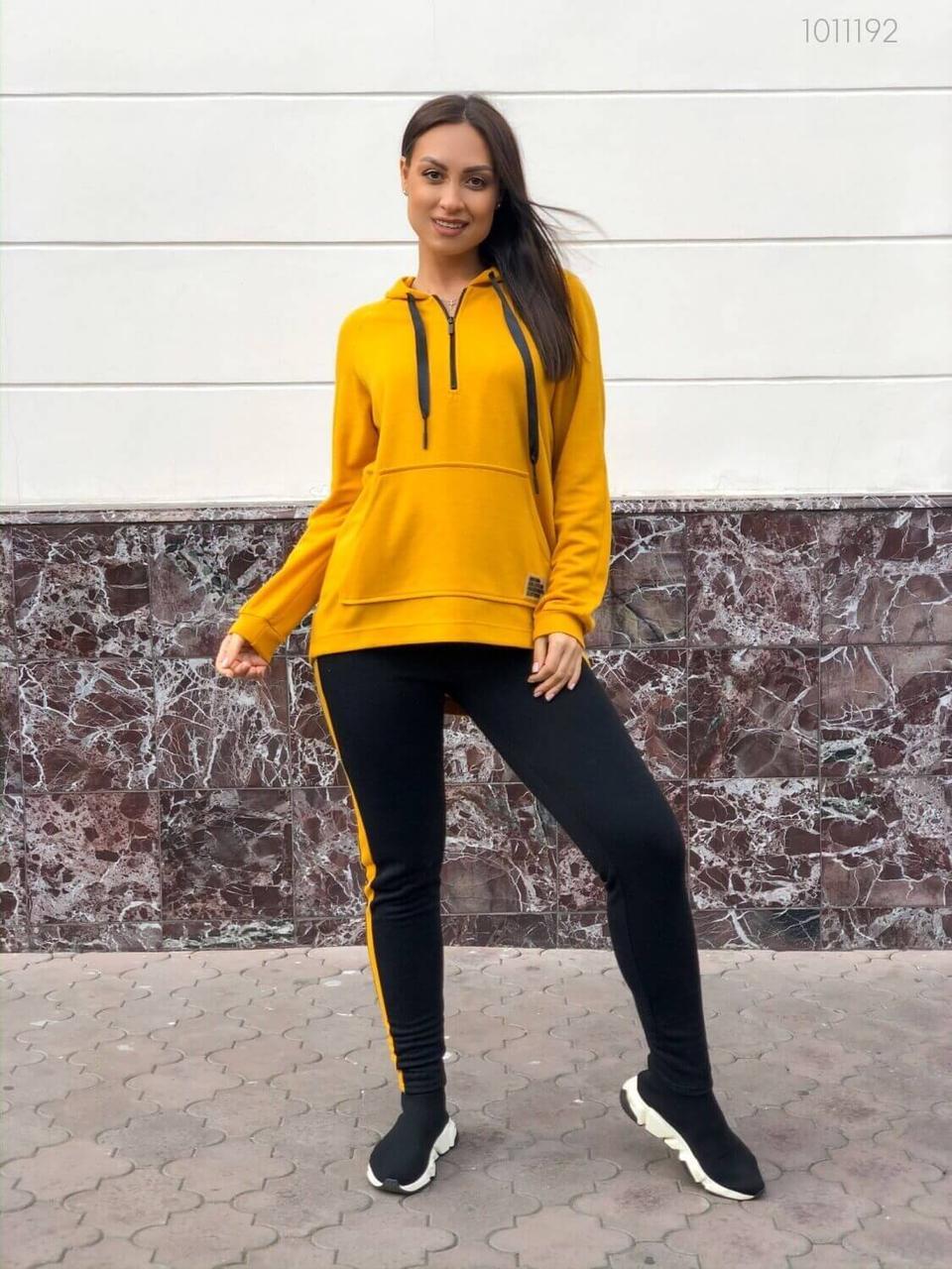 Женский спортивный костюм в больших размерах с удлиненной кофтой и зауженными штанами 8315637