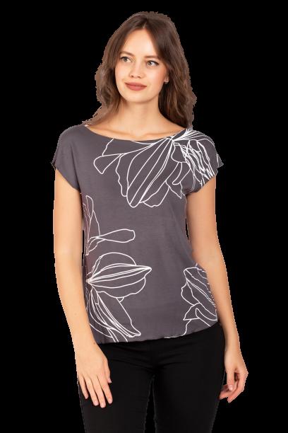 Летняя футболка женская из вискозы с растительным принтом серая Zap 0240S-11