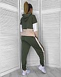 Женский стильный стильный спортивный повседневный трехцветный костюм (в расцветках), фото 3