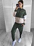 Женский стильный стильный спортивный повседневный трехцветный костюм (в расцветках), фото 2