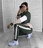 Женский стильный стильный спортивный повседневный трехцветный костюм (в расцветках), фото 5