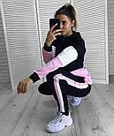Женский стильный стильный спортивный повседневный трехцветный костюм (в расцветках), фото 6