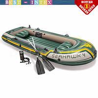 Четырехместная надувная лодка Intex 68351 (351х145х48 см) + Алюминиевые весла и ручной насос, фото 1