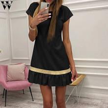 Женское черное платье 42 размера (бюст до 84см, бедра до 90см, длина 78-80см), 35% cotton, 65% полиэстер