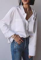 Крутая широкая женская рубаха мужского кроя с большими карманами. Цвет любой, р 40-74+