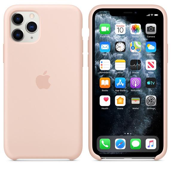 Силиконовый чехол для iPhone 11 Pro. Pink Sand. Швы стык в стык, оттенок логотипа и кнопок идентичен