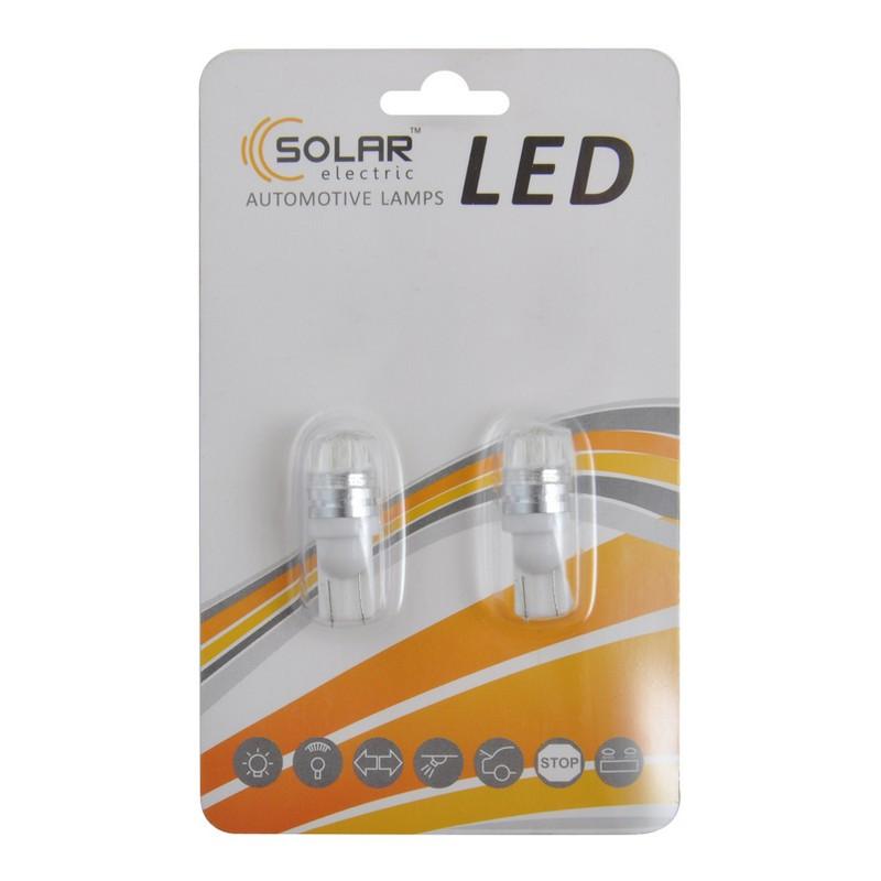 Автолампи світлодіодні Solar LED 12V T10 W2.1x9.5d 2SMD 5630 white 2шт (LS290_b2)