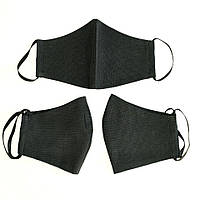 Маска защитная для лица двухслойная из бязи, черная