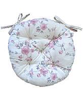 Подушка круглая на стул табурет Bella Розы