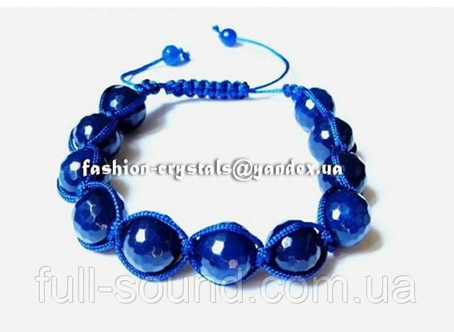 Браслет Shamballa с синими агатами